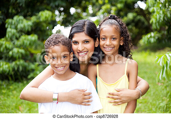 happy latin mother and kids outdoors - csp8726928