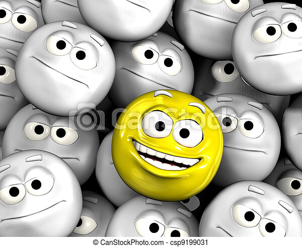 Happy laughing emoticon face among others - csp9199031