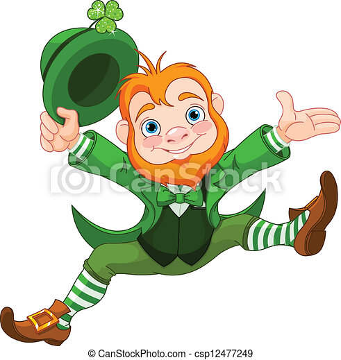 happy leprechaun joyful jumping leprechaun eps vector search rh canstockphoto ie clipart leprechaun pot of gold clipart leprechaun pot of gold