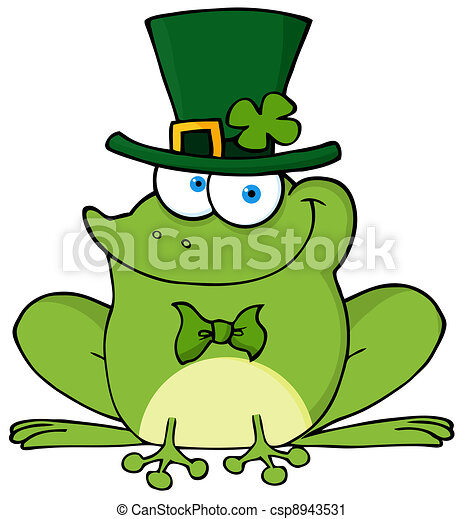 happy leprechaun frog st patricks day frog wearing a vector clip rh canstockphoto com frog vector images frog clipart vector