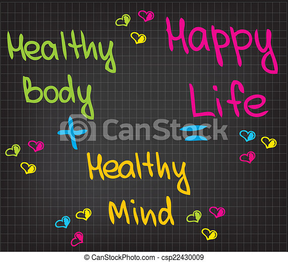 Happy Life Sketched Words Of Happy Life