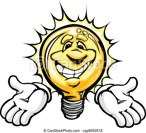 Happy Light Bulb with Hands Cartoon - csp9050518