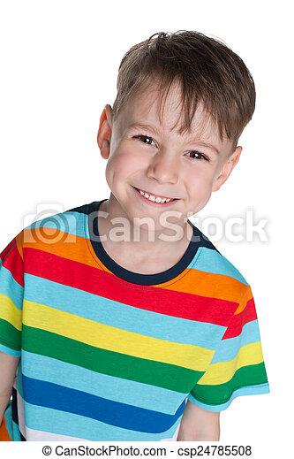 Happy little boy against the white - csp24785508