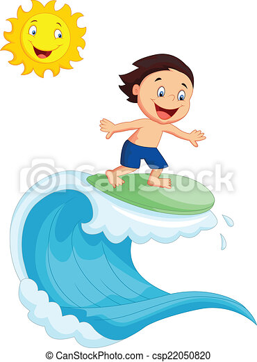 vector illustration of happy little boy surfing vector illustration rh canstockphoto com Girl Surfing Clip Art Free clipart surfing free download