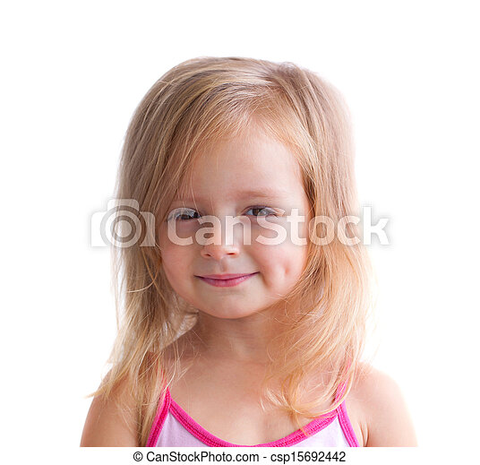 happy little girl a on white background - csp15692442