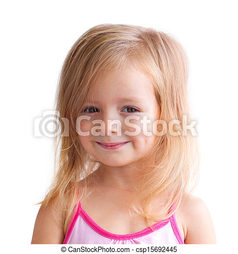 happy little girl a on white background - csp15692445
