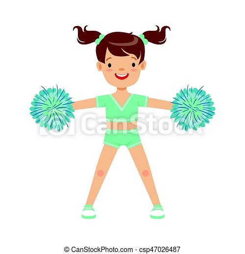 Happy Little Girl Dancing With Blue Pompoms Colorful Cartoon Character Vector Illustration Csp47026487