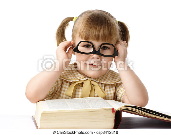 Happy little girl with books wearing black glasses - csp3412818