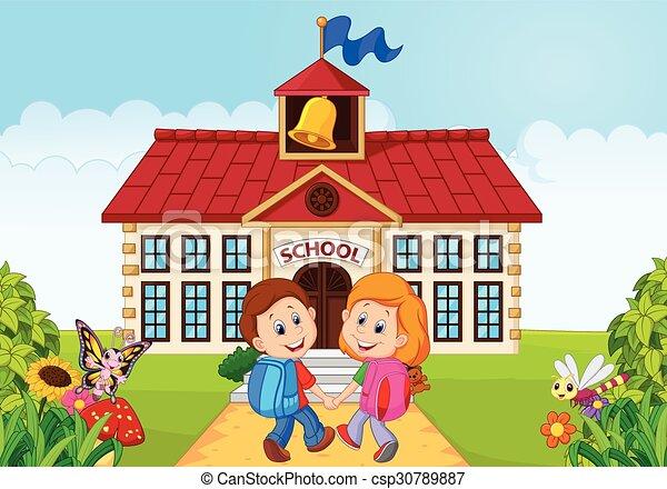 vector illustration of happy little kids going to school vector rh canstockphoto ca child going to school clipart going back to school clipart