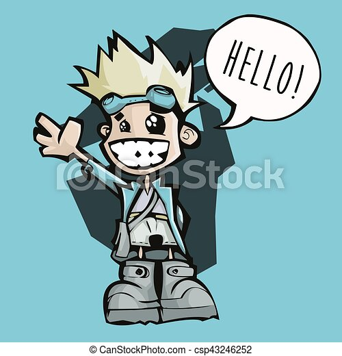 happy little man saying hello vector illustration of a happy little