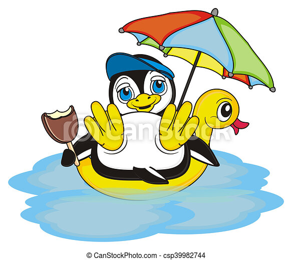 Happy Little Penguin Summer Vacation For Rh Canstockphoto Com