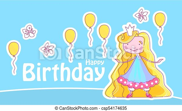 Happy Little Princess Birthday Card Template With Balloons And