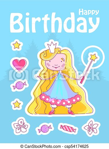 Happy Little Princess Birthday Card Template With Fairy Girl With