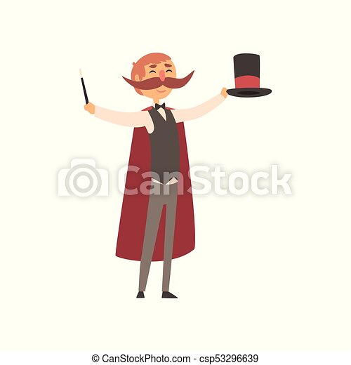 Happy magician standing with top hat and magic wand in hands. Man with big moustached, dressed in costume and red cloak. Circus performer. Flat vector design - csp53296639