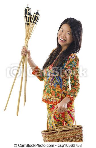 Happy Malay woman - csp10562753