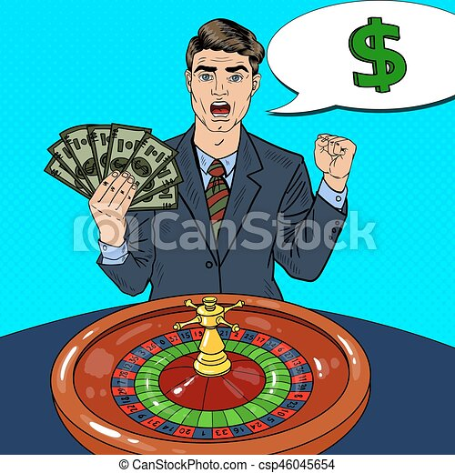Happy Man Behind Roulette Table Celebrating Big Win. Casino Gambling. Pop Art Vector retro illustration - csp46045654