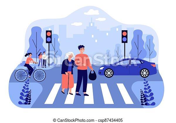 Happy man helping old woman crossing city street - csp87434405