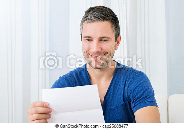 Happy Man Holding Letter - csp25088477
