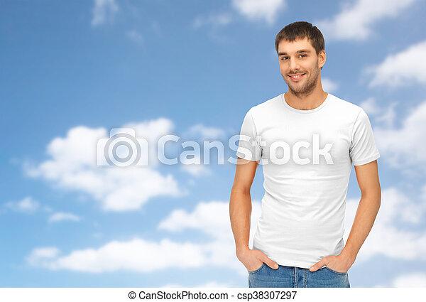 happy man in blank white t-shirt - csp38307297