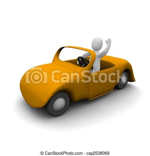 Happy man in cabriolet car. 3d rendered illustration. - csp2538069