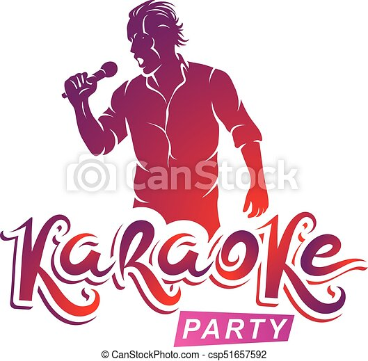 Happy man with microphone sings karaoke live music concert vector happy man with microphone sings karaoke live music concert vector invitation leaflet karaoke party writing stopboris Image collections