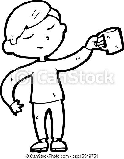 Happy Man With Mug Of Coffee