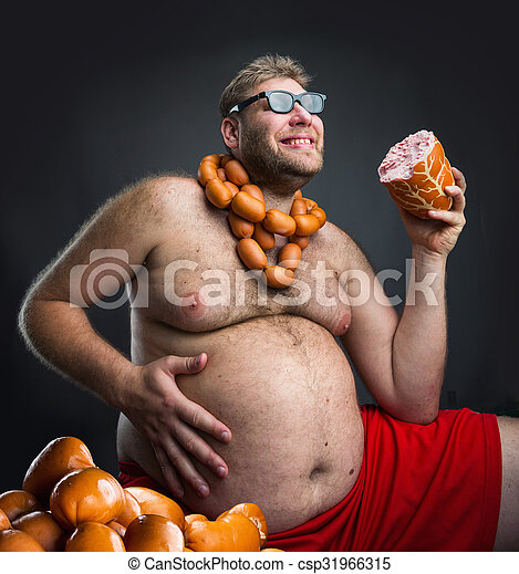 Happy man with sausages - csp31966315