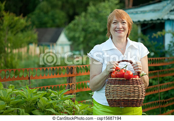 Happy mature woman  harvested vegetables - csp15687194