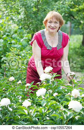 Happy mature woman with flowers   - csp10557264