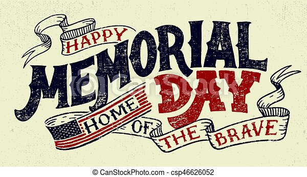 Happy Memorial Day hand lettering greeting card - csp46626052