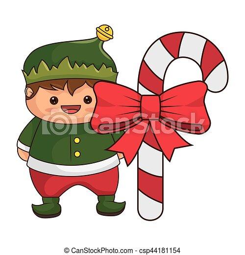 happy merry christmas elf kawaii character csp44181154 - Merry Christmas Elf