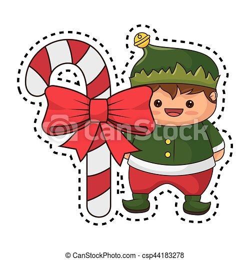 happy merry christmas elf kawaii character csp44183278 - Merry Christmas Elf