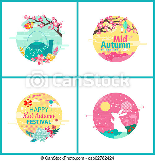 Happy Mid Autumn Festival Cultural Event Emblems - csp62782424