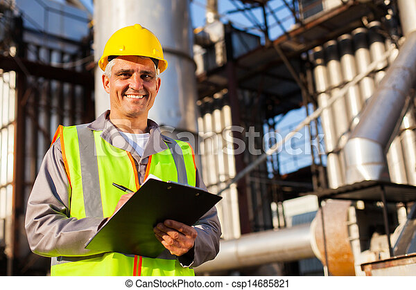 happy middle aged oil industry worker - csp14685821