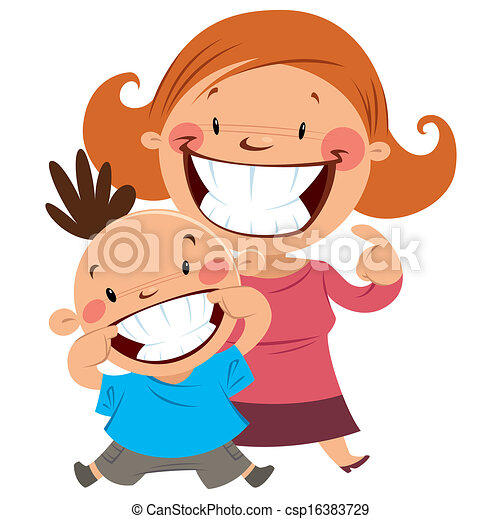 Happy mom and son smiling showing their teeth. Happy mom ...