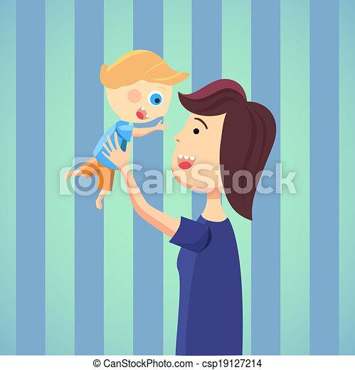 Happy mom with son cartoon - csp19127214