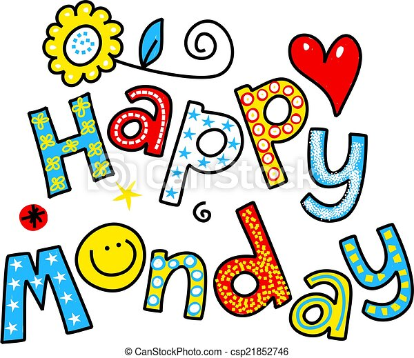 happy monday cartoon text clipart hand drawn and colored drawing rh canstockphoto com happy thursday clipart images happy thursday clip art free