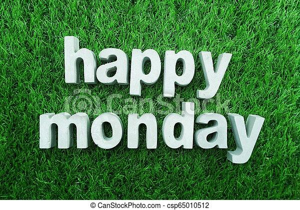 Happy Monday made from concrete alphabet - csp65010512