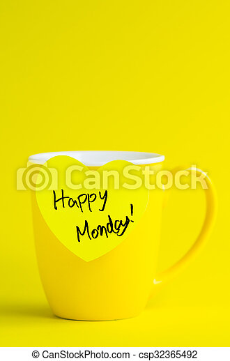 Happy Monday Message On Yellow Mug Happy Wednesday Message On
