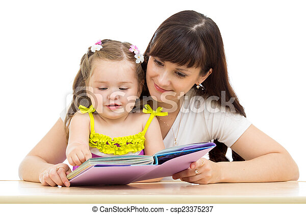 happy mother and child read a book together - csp23375237