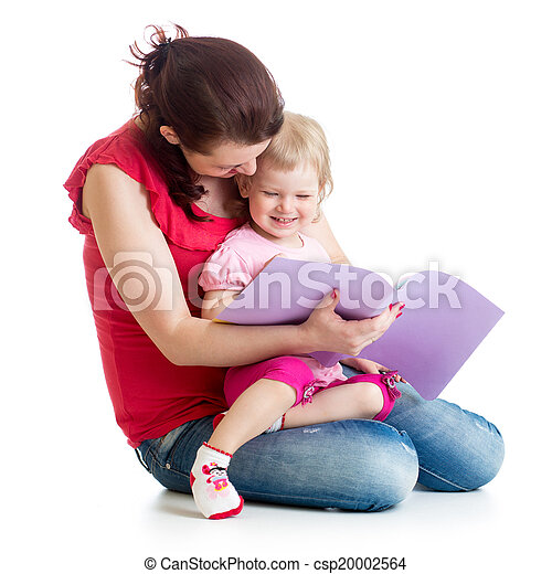 happy mother and child reading a book together - csp20002564