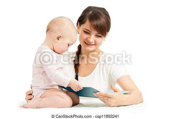 happy mother and child reading a book together - csp11893241