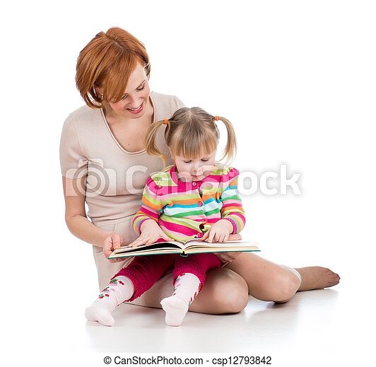 happy mother and child reading a book together - csp12793842