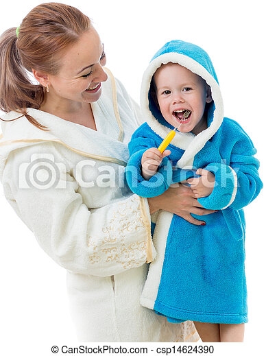 Happy mother and child teeth brushing together in bathroom - csp14624390