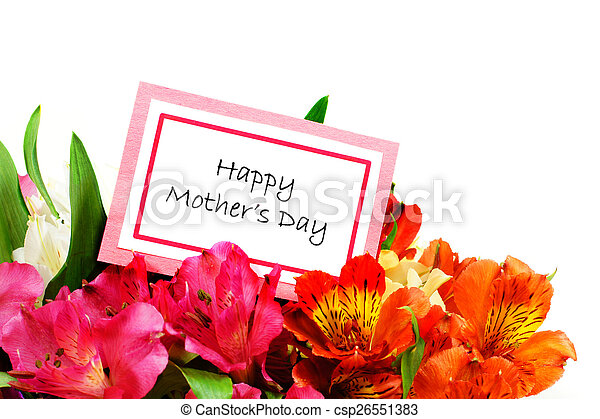 Happy Mother Day card with flowers - csp26551383