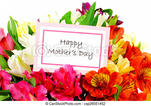 Happy Mother Day card with flowers - csp26551452