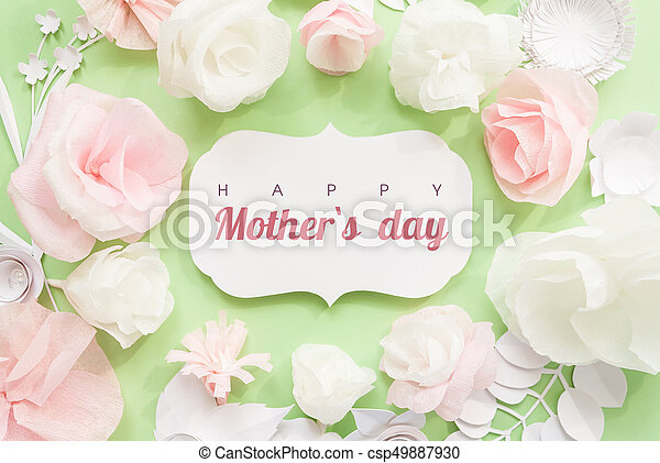 Happy Mother day, card with paper flower - csp49887930