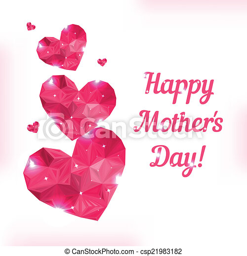 Happy Mother day. Love symbol. Pink origami heart on white. - csp21983182