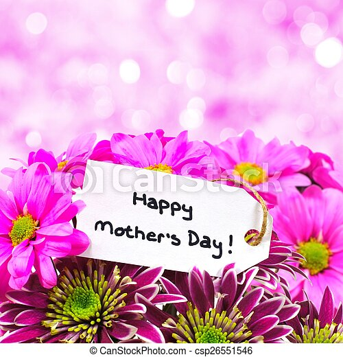 Happy Mother Day tag with flowers - csp26551546