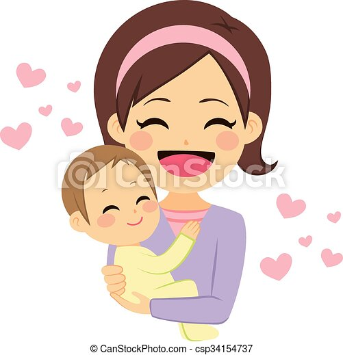 Happy mother holding baby. Young cute happy mother smiling ...